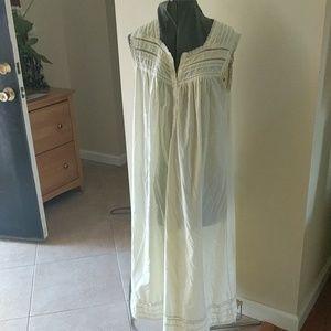 Erika Taylor Long Nightgown Summer Yellow Cotton
